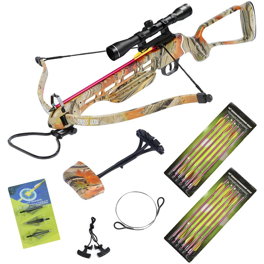 150 lb Autumn Camo Crossbow Aluminum Stock +4x32 Scope +14 Arrows +Quiver +3 Broadheads +Rope Cocking Device +Stringer