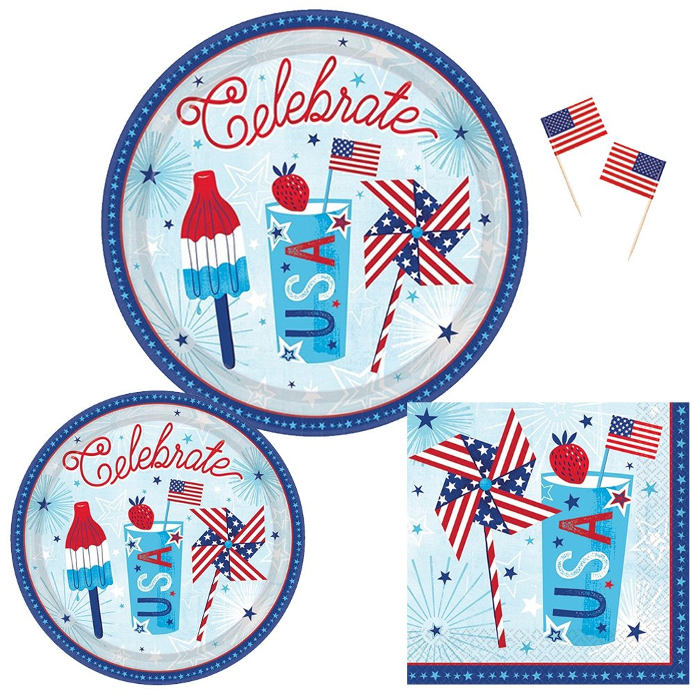 Patriotic Party Supplies for 18 Guests: Plates, Napkins and USA Flag Picks by Life on the Lane (Image #1)