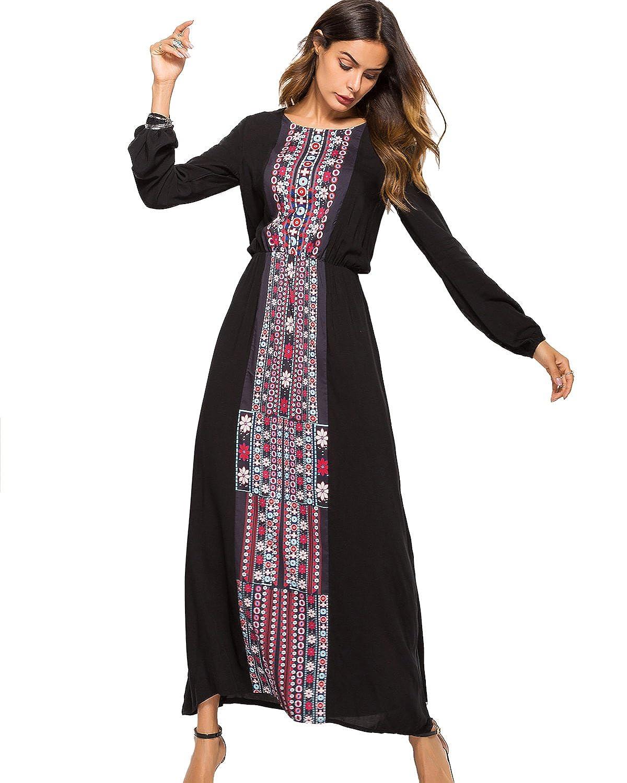 236391024e1dc sankill Women Boho Dresses Long Sleeve Maxi Dress Autumn Round Neck A Line  High Waist Dress at Amazon Women s Clothing store