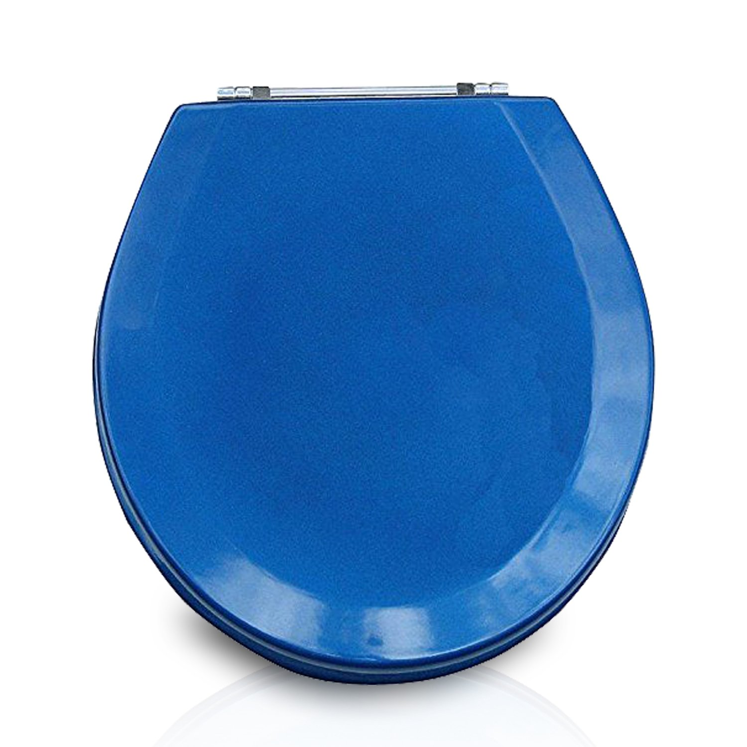 Trimmer Premium Molded Wood Toilet Seats With Multi-Coat Surface Finish - Water and Stain-resistant Finish with Chrome Hinges, Blue