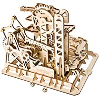 ROBOTIME Self-Assembly Marble Run Toy Set-Magic Tracks Building Kits Wooden Craft Kit Tower Coaster