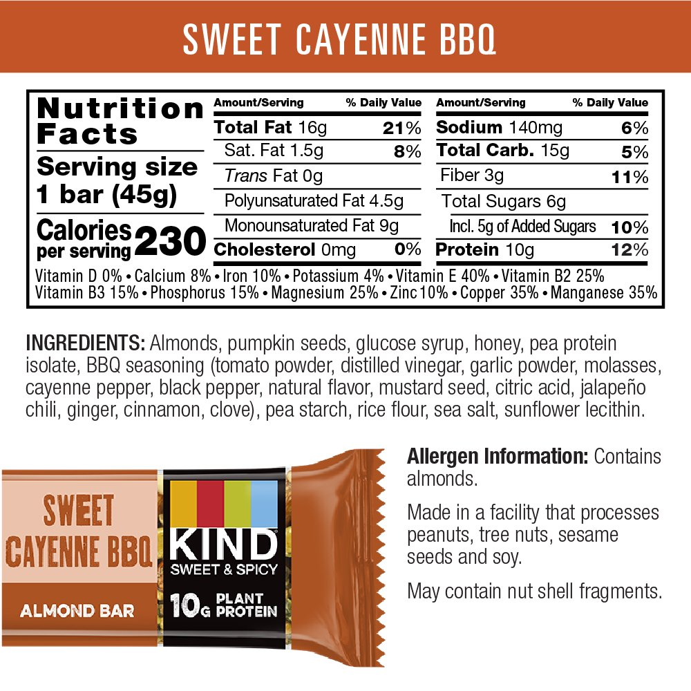 Amazon.com : KIND Thai Sweet Chili Sweet and Spicy Bar, 10g Protein ...
