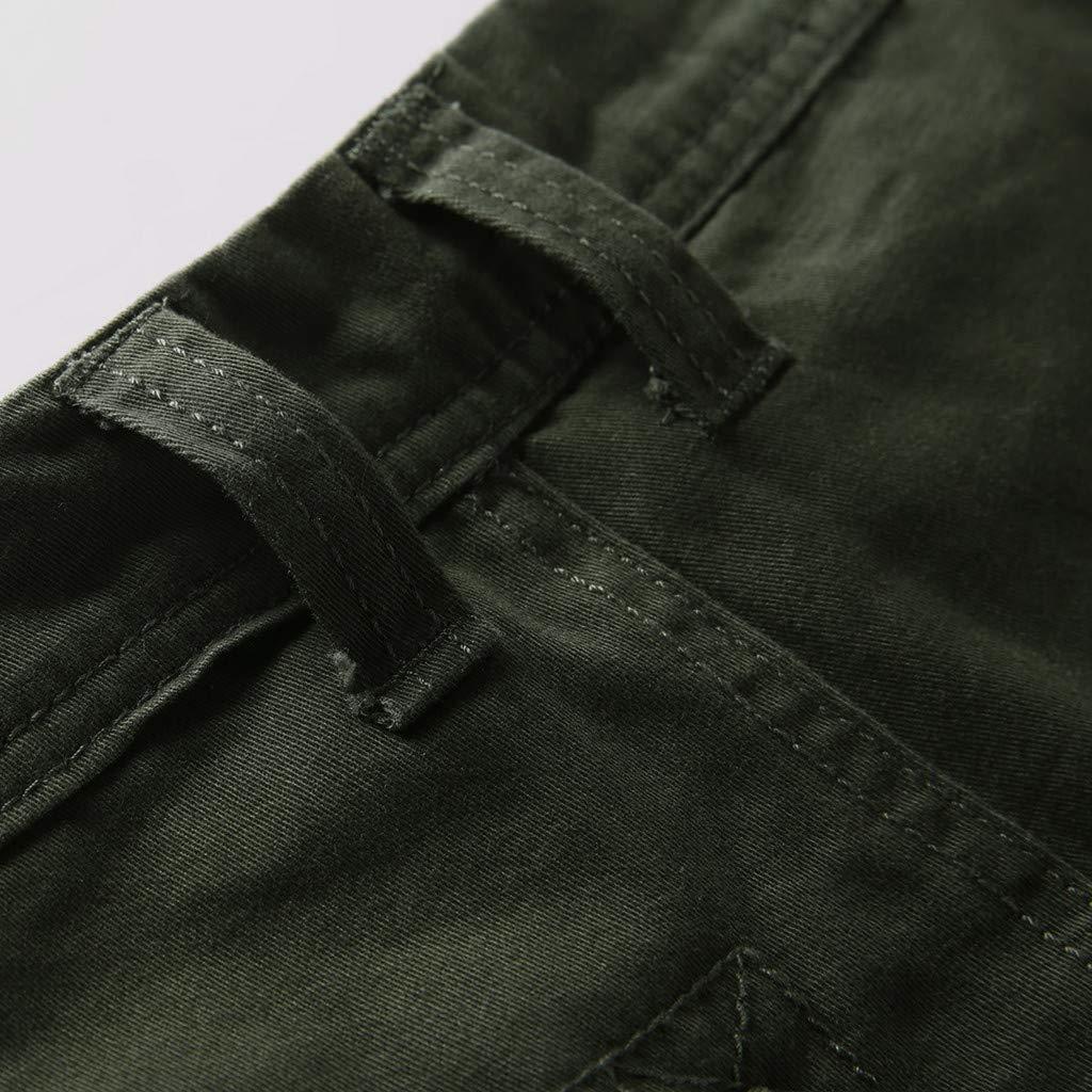 LEERYAAY Cargo&Chinos Men's Summer Outdoors Casual Loose Multiple-Pockets Cotton Overalls Beach Shorts ArmyGreen by LEERYAAY (Image #4)