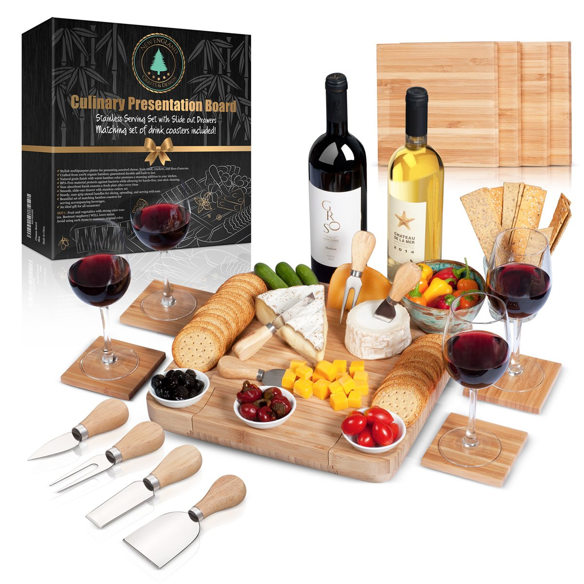 Cheese Board Set: 13x13.4x2 Inch All Bamboo Tray with Slide Out Drawer, 4-Piece Cutlery, Coasters and Guide in a Gift Box