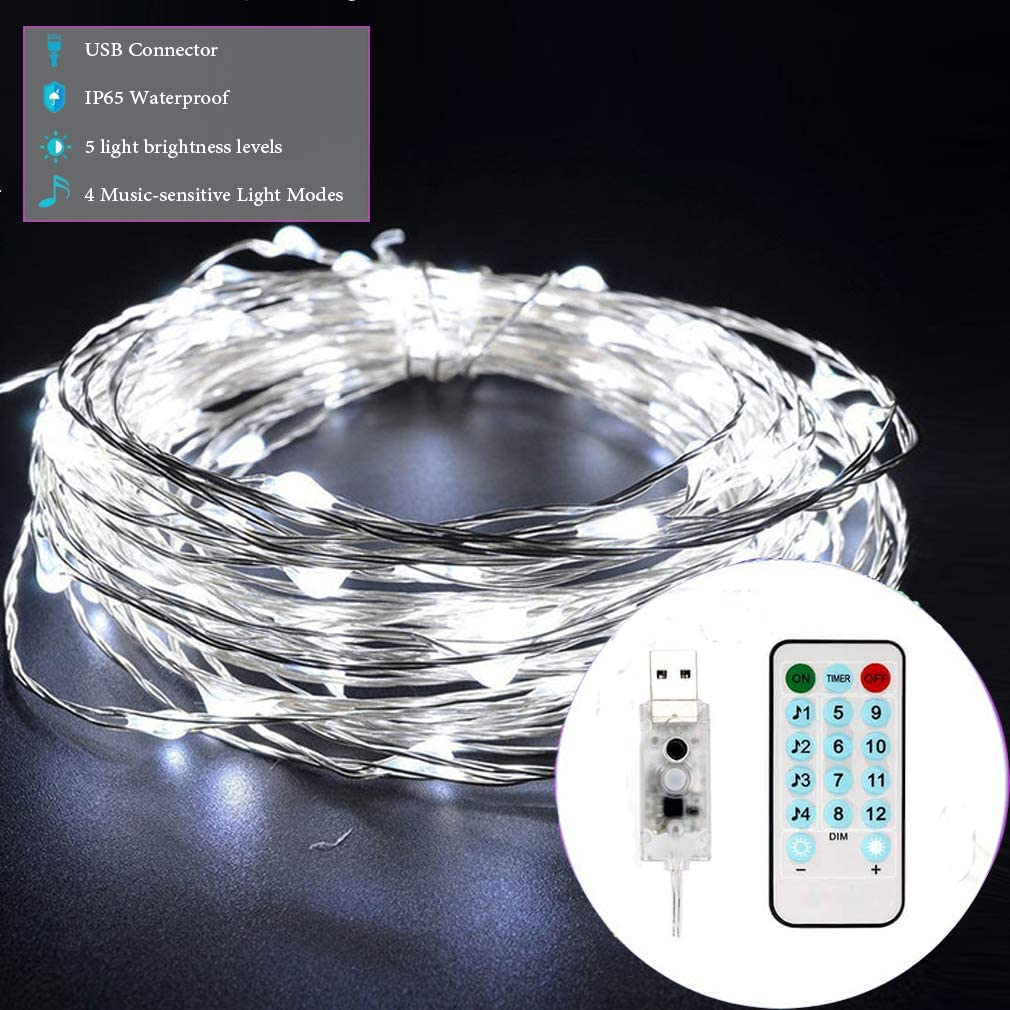 MSKJ Waterproof Fairy Lights, USB Twinkle Lights Music-Sensitive led String Lights USB Plug in 65.6ft 200 LED 12 Lighting Modes Flexible Copper Wire String Light Room Decor White