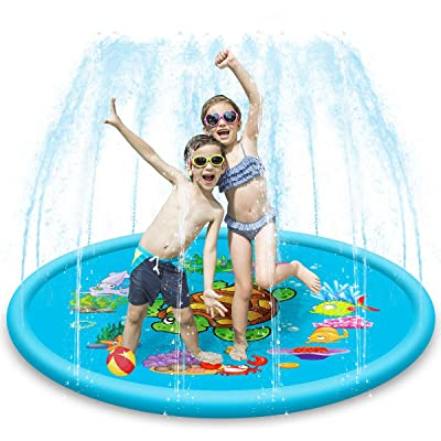 DaMohony DaMohony Sprinkler Water Play Mat, Inflatable Splash Pad Outdoor Sprinkler for Kids Fountain Play Pad, 67Inch : Baby [5Bkhe0201648]
