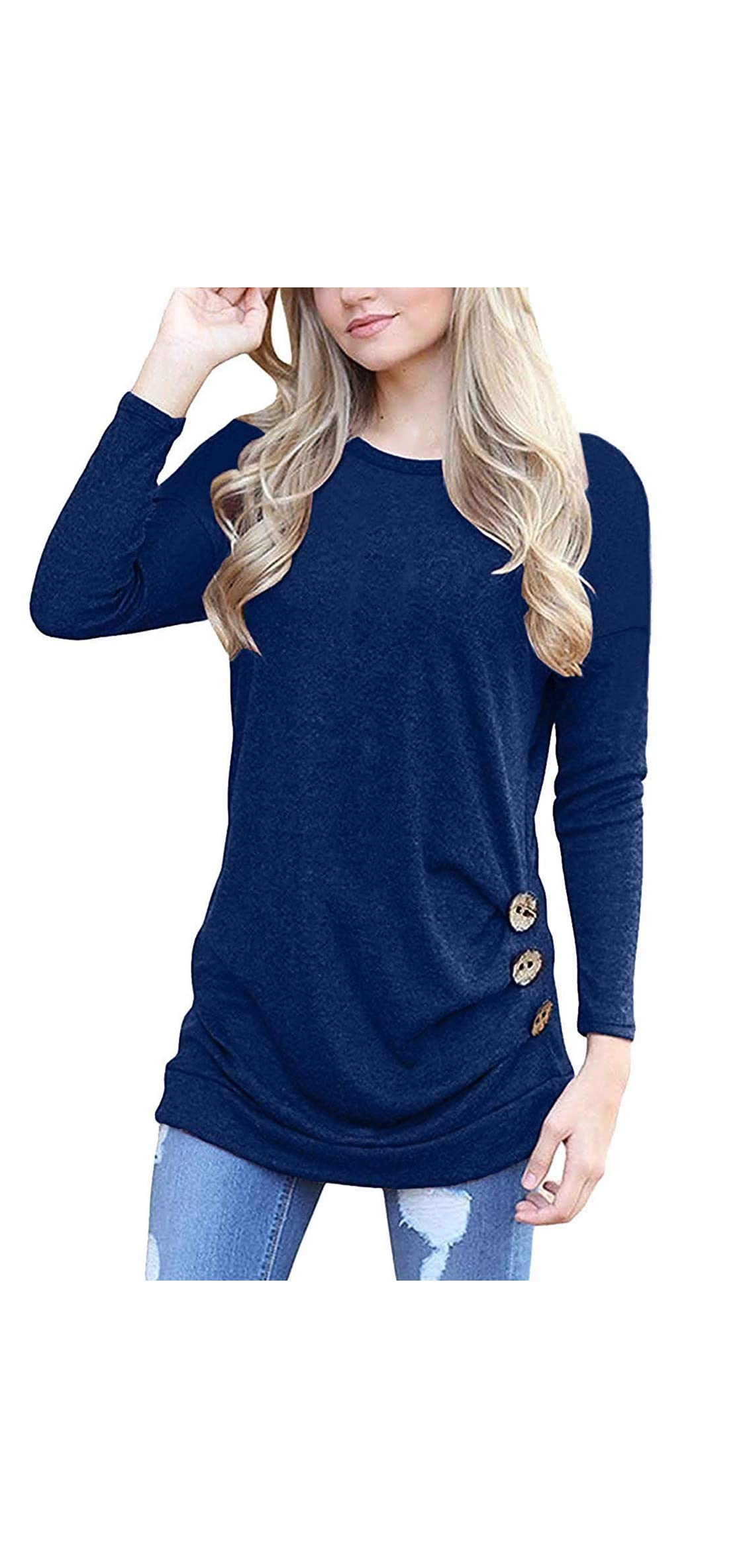 Women's Casual Long Sleeve Round Neck Loose Tunic T