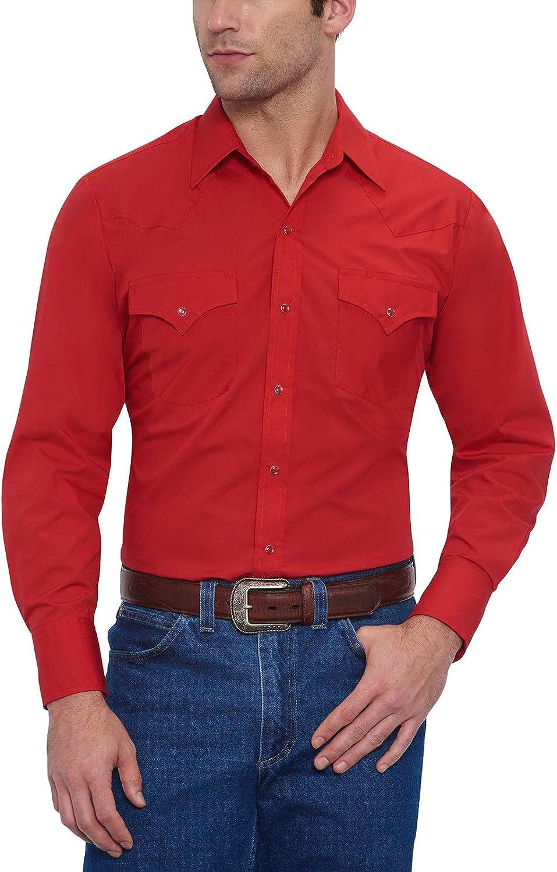 ELY CATTLEMAN Mens Long Sleeve Solid Western Shirt