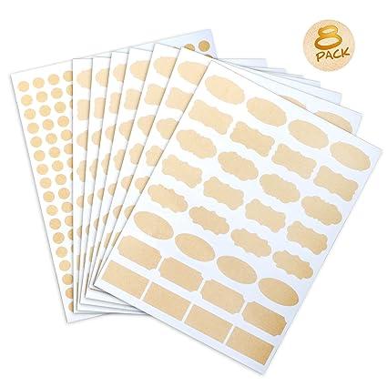 aad4e1ef0c3b 8 Sheet Essential Oil Bottle Stickers Labels,Waterproof Shape Stickers for  Food Jars,Fancy Kraft Paper(445 Pcs)