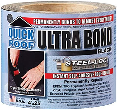 Amazon Com Cofair Products Inc Ubb425 Quick Roof 4 Inch X 25 Feet Black Ultra Bond With Steel Loc Adhesive Instant Self Adhesive Roof Repair Garden Outdoor