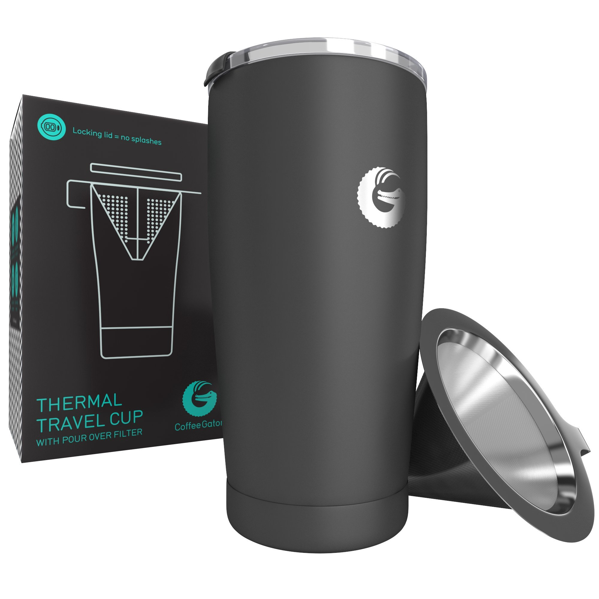 Personal Coffee Brewing Travel Mug - Vacuum Insulated Stainless Steel Pour Over Maker With Locking Lid - 17floz - By Coffee Gator