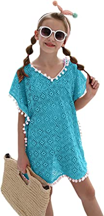 Amazon.com: Cute Blue Swimsuits Cover Up for Girls Kids Bathing Suit Beach  Dress Tops with Pompom Tassel: Clothing