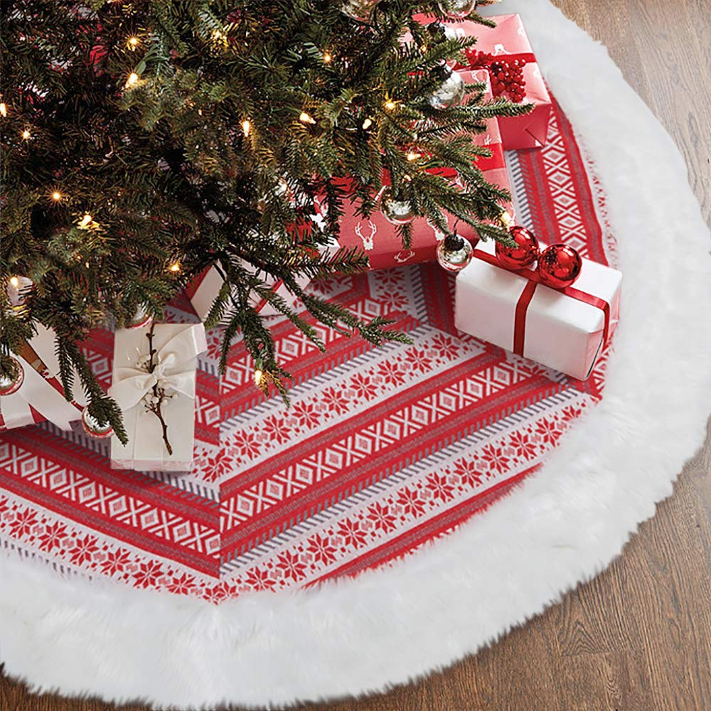 LifeFair 48 Inches White Faux Fur Christmas Tree Skirt with Delicate Knit Snow, Soft Snow Tree Skirts for Holiday Decorations Pet Favors(Red Snow)