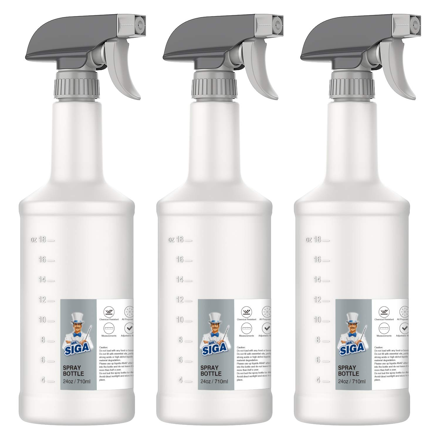 MR.SIGA 24 oz Empty Plastic Spray Bottles for Cleaning Solutions, Heavy Duty Household Reusable Spray Bottles with Measurements and Adjustable Leak Proof Nozzle, 3 Pack