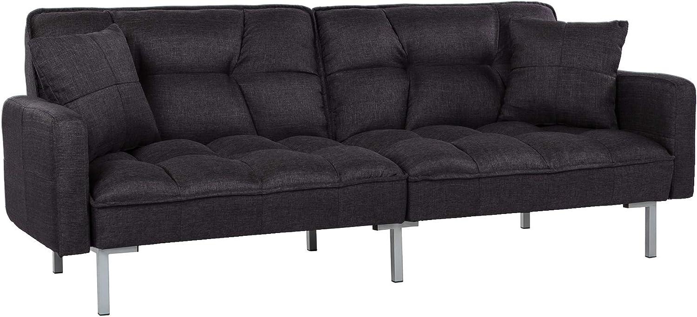 Casa AndreaMilano Furniture Collection Modern Plush Tufted Linen Fabric Splitback Living Room Sleeper Futon, Black