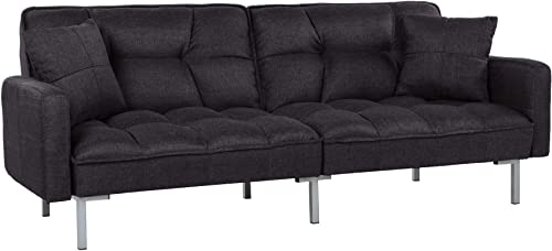 Casa AndreaMilano Furniture Collection Modern Plush Tufted Linen Fabric Splitback Living Room Sleeper Futon