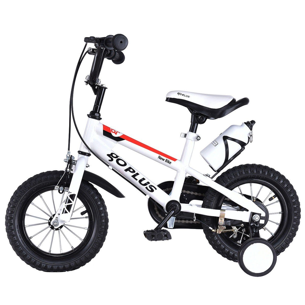 MD Group Kids Bicycle 12'' Freestyle White Metal Frame Adjustable with Training Wheels by MD Group (Image #2)