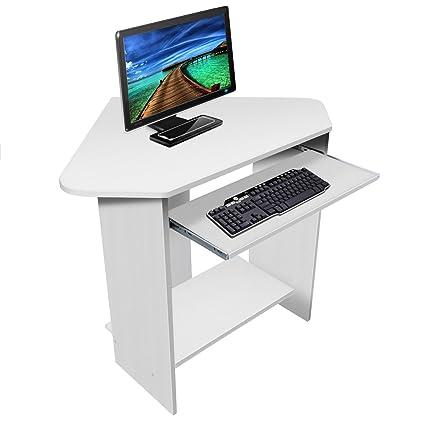 Mobile Ad Angolo Per Computer.Lyndan Spearfish Bianco Tavolo Scrivania Per Computer Ad Angolo