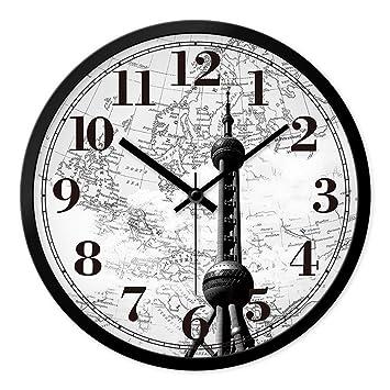 DIDADI Wall Clock Reloj de Pared Relojes Continental Oficina de Dibujo Creativo Silencio Retro Elegante Reloj Máximo Moderno Reloj de Cuarzo-Tabla 12 pulg.