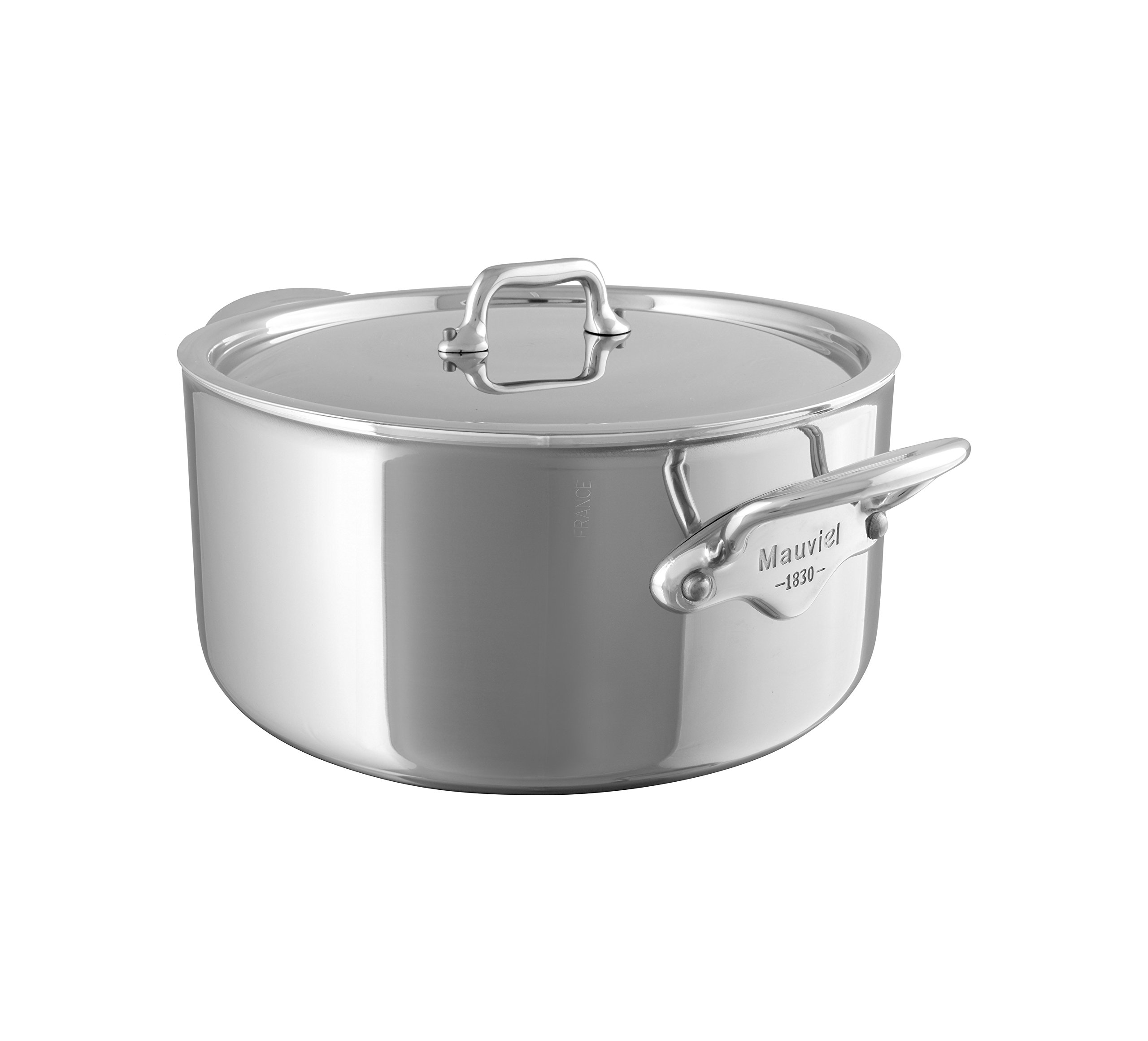 Mauviel Made In France M'Cook 5 Ply Stainless Steel 5231.25 6.4-Quart Stewpan with Lid, Cast Stainless Steel Handle