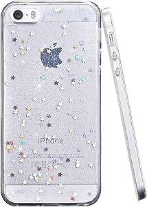 BAISRKE Glitter Case for iPhone 5 5s SE, Slim Luxury Bling Glitter Sparkle Clear Transparent Soft TPU Bumper Back Cover Case for iPhone 5 5s SE - Clear