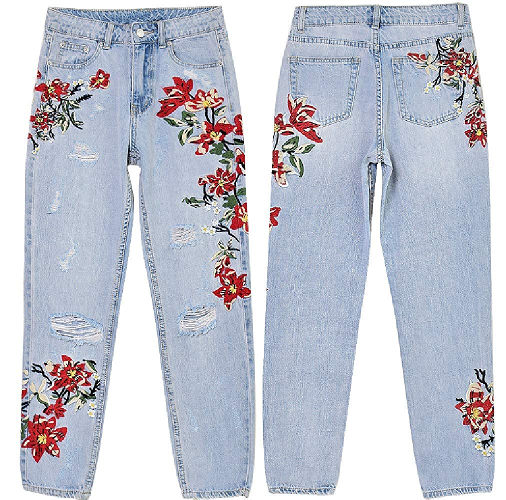 KORSE Womens Embroidery Frayed High Rise Straight Fit Denim Jeans