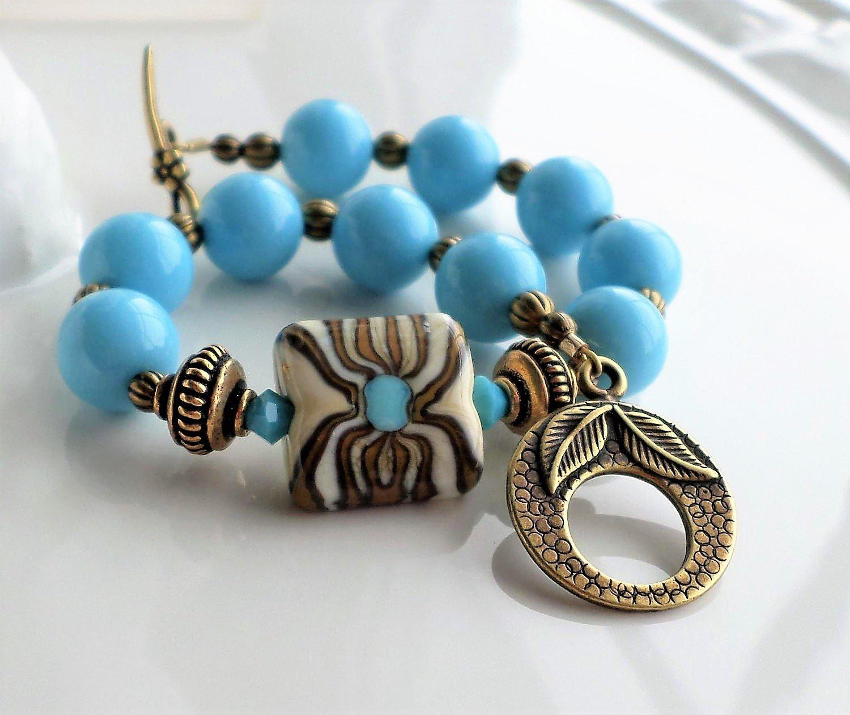 Lampwork Bracelet Blue Brown Bronze