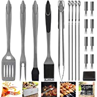 POLIGO BBQ Grill Tools Set Stainless Steel Barbecue Grilling Accessories Set with Aluminum Case for Camping - Premium Outdoor Grill Utensil Ideal Gifts Set on Birthday Father's Day for Dad Men