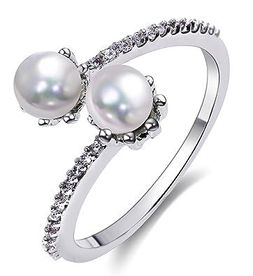 Epinki Chapado en Plata Anillos para Mujer Anillos de Perlas ...