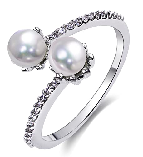 Epinki Mujer Chapado en Plata Anillos de Perlas Anillo Abierto Anillos Mujer Plata con Blanco Perla