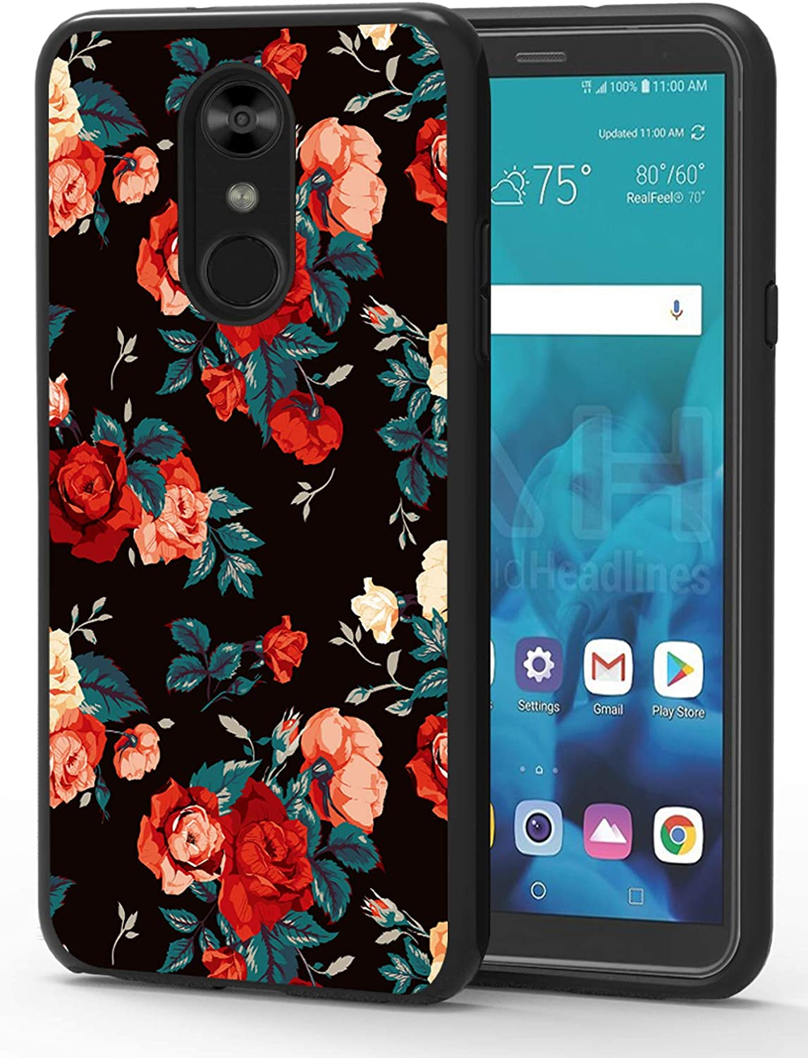 ShinyMax LG Stylo 4 Phone Case,LG Stylo 4 Plus Case,LG Q Stylus Case, Hybrid Dual Layer Armor Protective Cover Anti-Scratch Shockproof Cute Case with Rose Design for Women and Girls Flowers