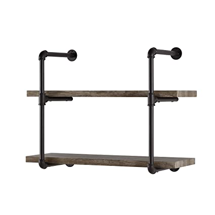 Danny B GH072 Two Tier Floating Metal Pipe Shelves With Aged Wood Finish