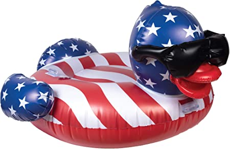 GAME 51418-BB Derby Duck Stars & Stripes, Large, Holds Up to 250 Pounds Pool Float, Multi