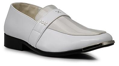 eaeecdda2bad8 JY1N Men's Satin Metal Silver Tip Loafer Dress Shoes Stripes Church Wedding  Party Groomsmen Slip On Dress Shoes