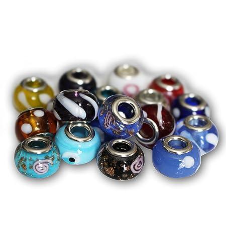 Solid Black Handmade Glass European Charm Bead UK