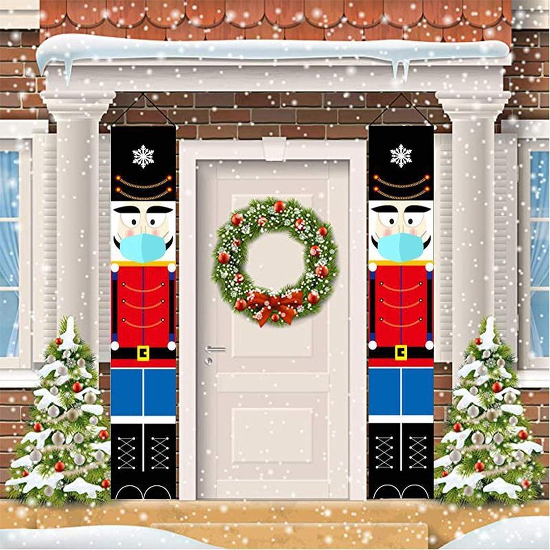 THEUU Nutcracker Christmas Decorations Door Banner Outdoor Xmas Decor Soldier Model Nutcracker Banners for Front Door Porch Garden Indoor Kids Party Holiday Decoration (B)
