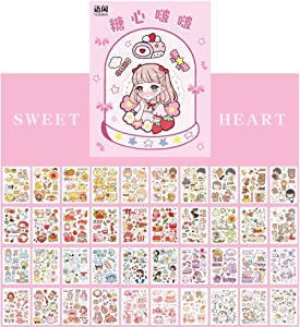 Kawaii Washi Stickers Set (50 Sheets) Cute Girl Cartoon Animal Ice Cream Food Fruit DIY Label Sticker Decoration for Scrapbooking Journal Book Planner Diary Album Envelope Card