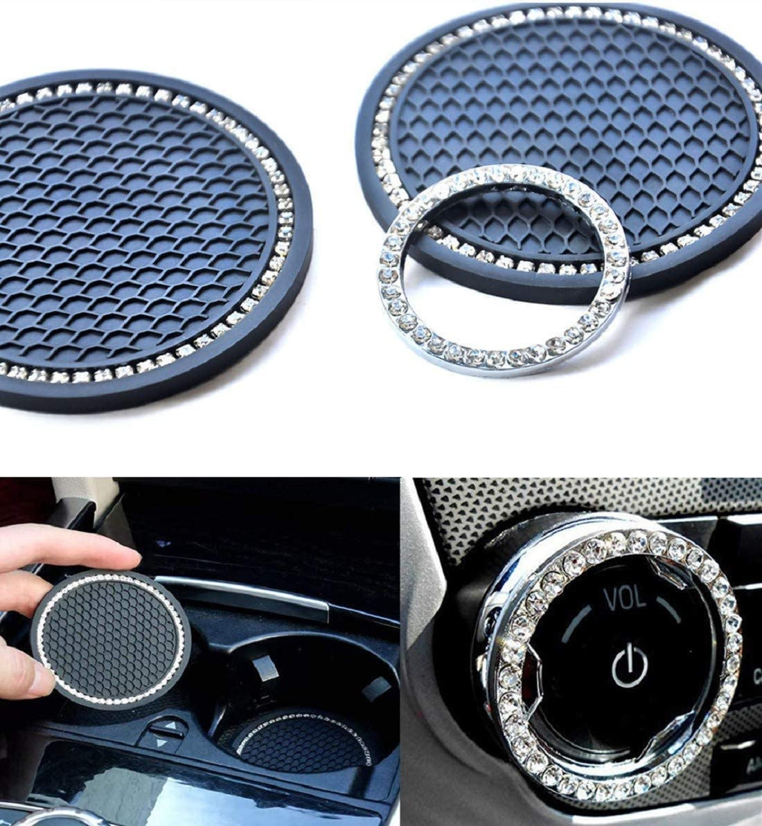 aurrako Car Coaster ,Bling Car Accessories for Women(3Pcs/Set), Universal 2.75 inch Silicone Anti Slip Crystal Rhinestone Car Cup Holder Coasters (Classic Style)