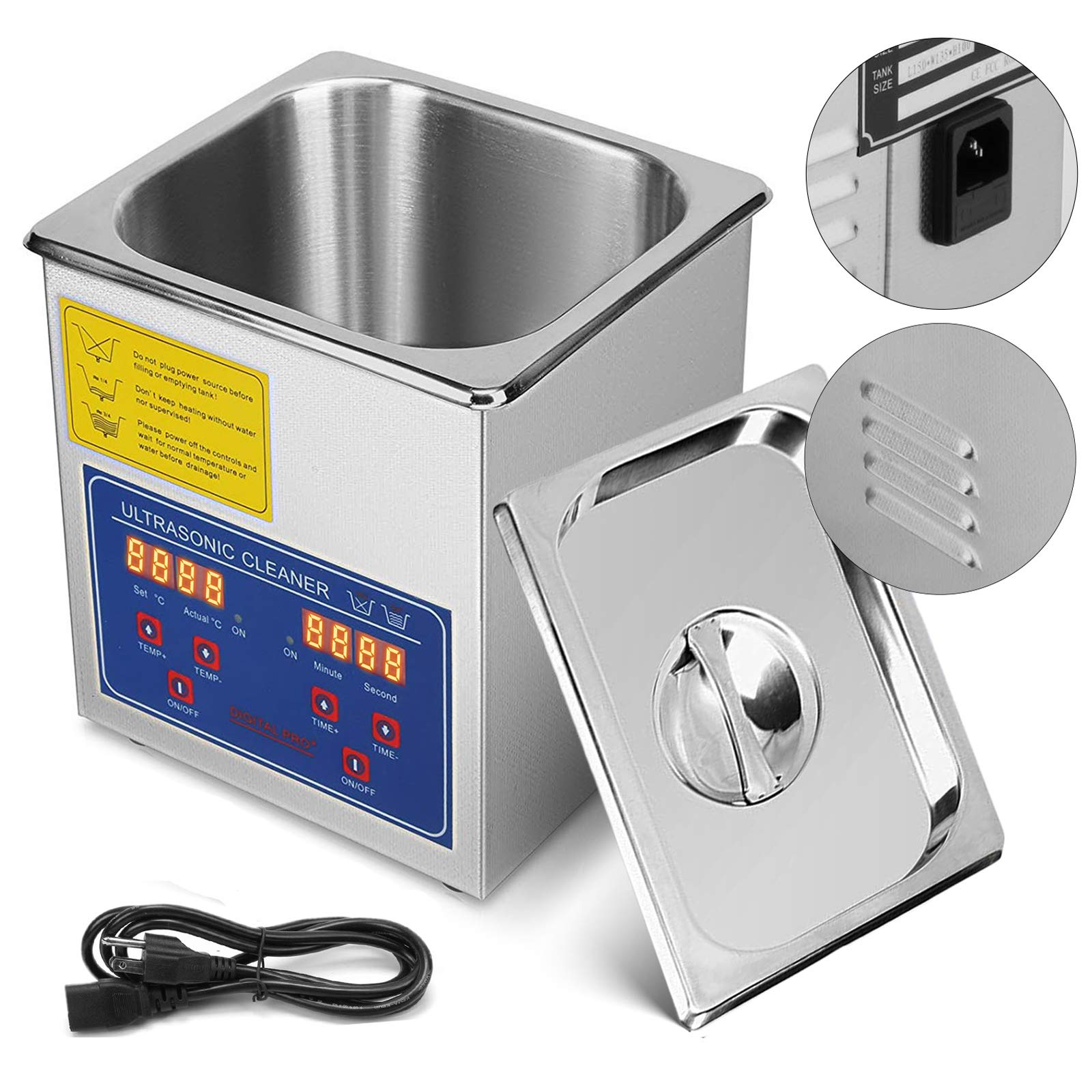 Mophorn Ultrasonic Cleaner 1.3L Total 110W Ultrasonic Parts Cleaner Professional Stainless Steel Industrial Ultrasonic Cleaner Jewelry Cleaner with Heater Timer(1.3L)