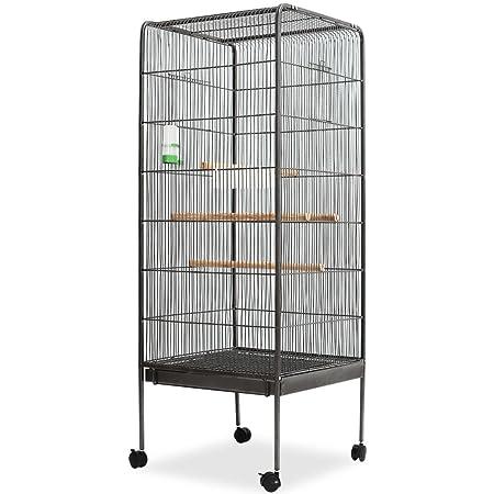 Festnight Pajarera, jaula para pájaros, con estructura de acero y ...