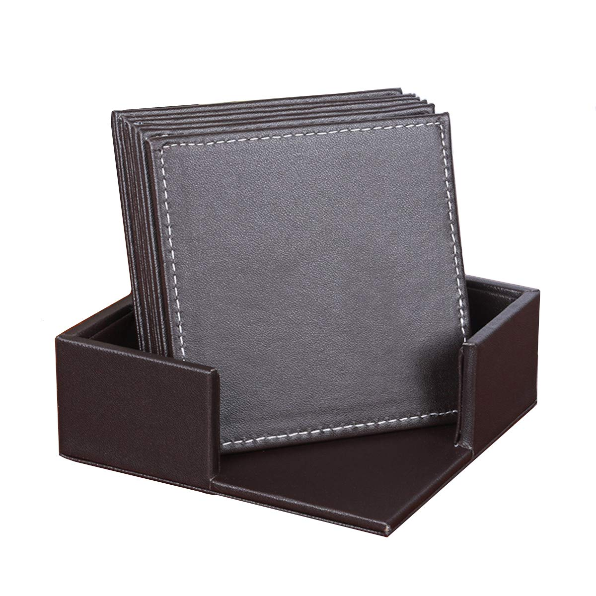 XINFU Coasters Classic Pattern PU Leather Drink Coasters Set of 6 with Holder Square Cup Mat