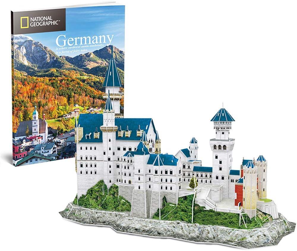 CubicFun Puzzle 3D Castillo de Neuschwanstein Schwangau Alemania, Edificio Kits de Modelo con Folleto de National Geographic, 121 Piezas