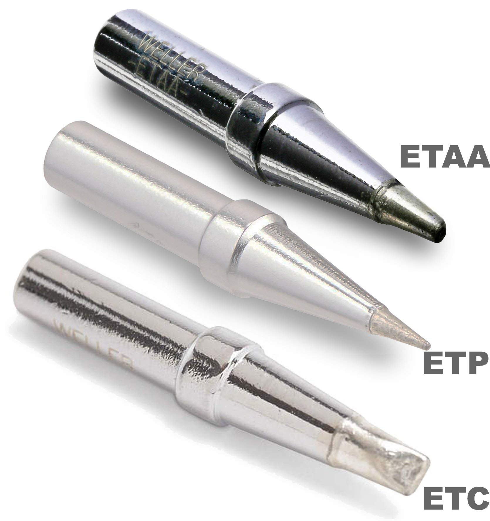 Weller (1 ETP & 1 ETAA & 1 ETC ) Tip for EC1201, PES50, PES51, Conical Tip Width: 0.031'', Length 0.625'' and Flat Tip, 0.062'' Height 0.040'', and Screwdriver Length 0.062'' Height 0.027'', Width 0.125''