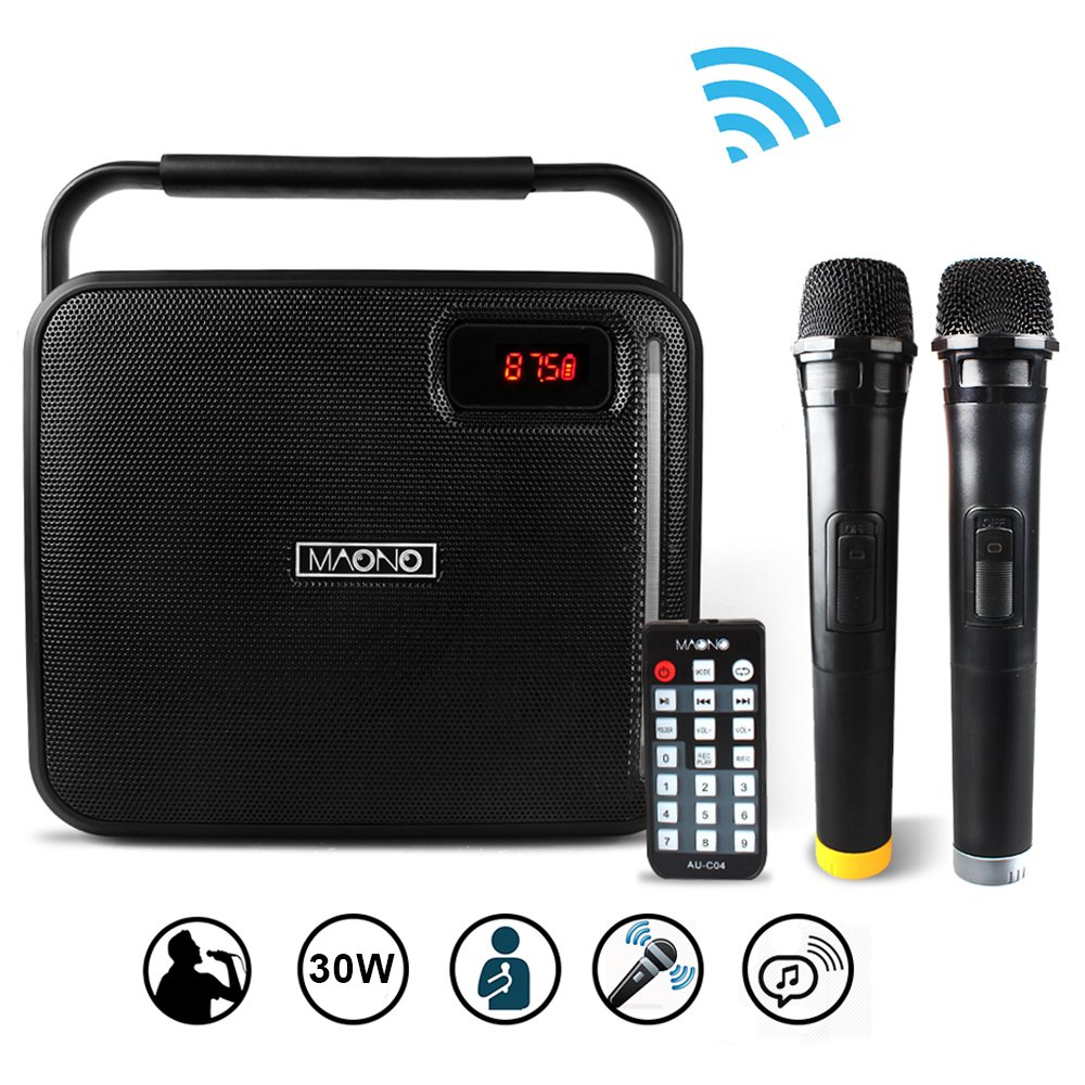 30W PA System, MAONO PK-30 Karaoke Machine with Two Wireless Handheld Microphones, LED Bar for Adults Kids (Black) by MAONO (Image #2)