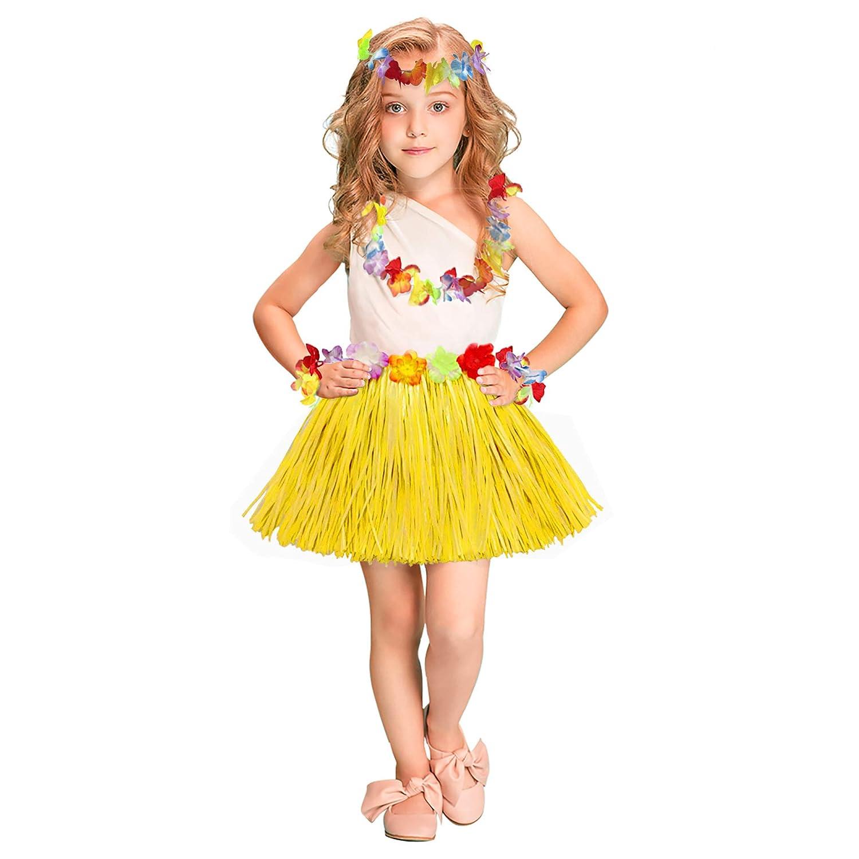 f53baa703b Girls Elastic Hawaiian Hula Dancer Grass Skirt With Flower Costume ...