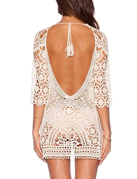ddc9bc4a423 Minetom Mujeres Vestidos Escotado por Detrás Encaje Crochet Bikini Cubrir  Cover Up Playa Vestido Pareos Traje de Baño Blanco Tamaño  ES 34-38   Amazon.es  ...