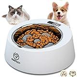 ペット早食い防止食器 犬猫用ボウル 電子天秤 スローフード ペット用食器 ペット用ボウルフードボウル 犬猫用食器 5度傾斜角 猫皿 滑り止め 取り外し可能 (White)