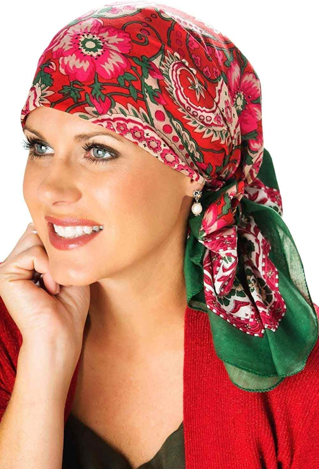 Christmas Scarf | Holiday Head Scarves | Hand Stamped Cotton