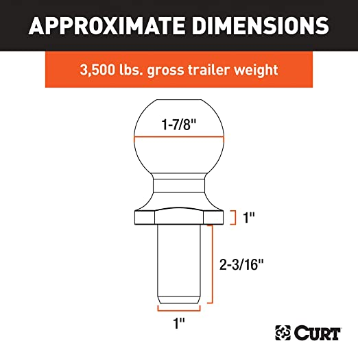 CURT 40031 Chrome Trailer Hitch Ball 3,500 lbs. 1-7//8-Inch Diameter Tow Ball with 1-Inch x 2-3//16-Inch Shank 1-Inch Rise