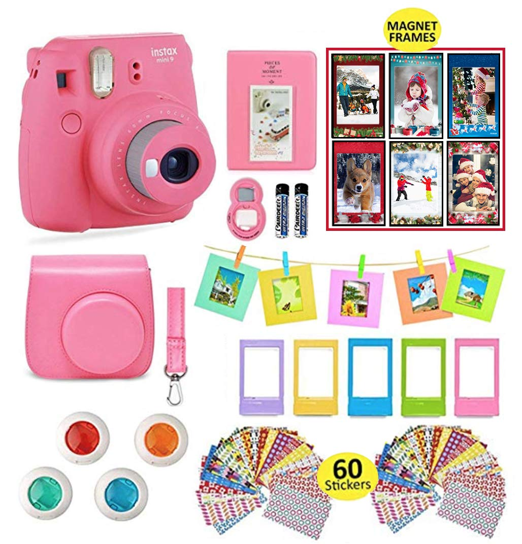 Fujifilm Instax Mini 9 Instant Camera with Accessories | Bundle of Soft Leather Case + Mini Photo Album + 6 Christmas Magnet Frames + 4 Colored Lenses + Selfie Lens + 10 Photo Frames + Stickers + More